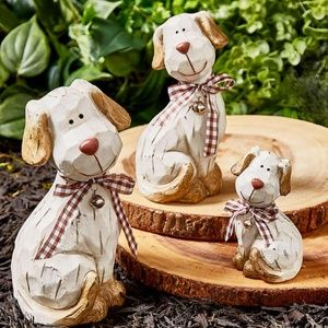 Dog Statues- NEW- Set of 3 Terra Cotta dogs